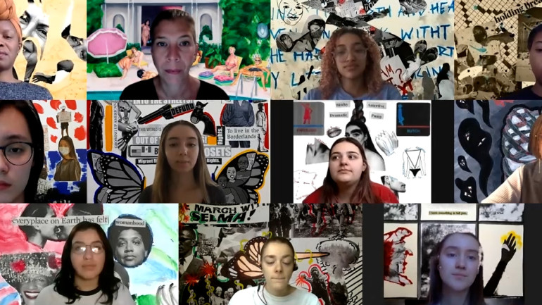 A screenshot of a Zoom call with eleven faces. Behind each person is a collage.