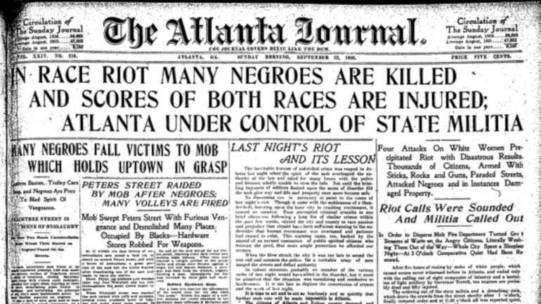 The front page of The Atlanta Journal from 1906.